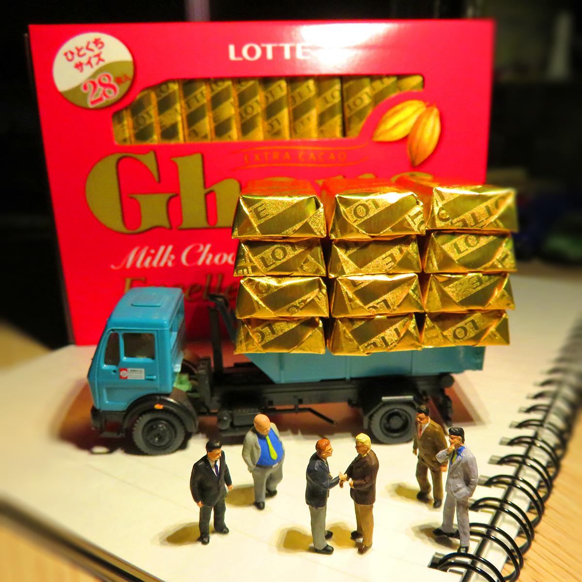 ロッテのガーナチョコレート金塊を取引する闇市場