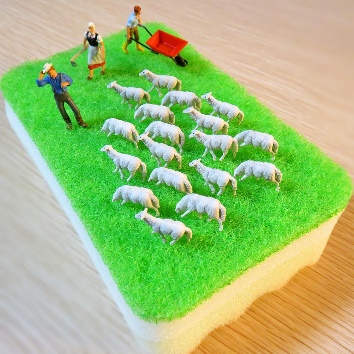 スポンジ牧場で飼育してる羊と羊飼い