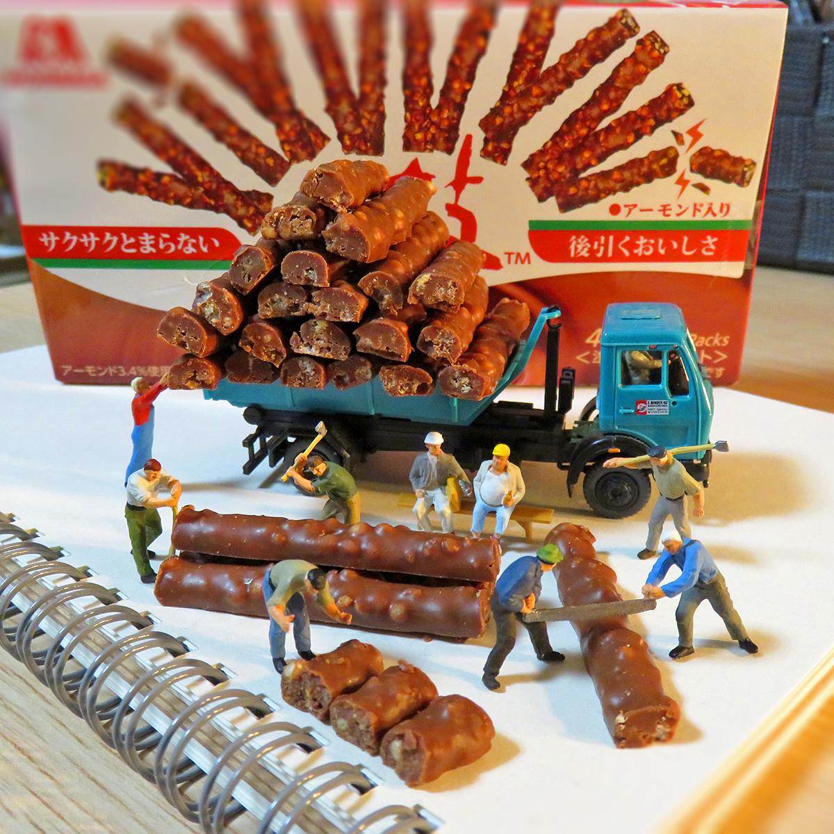小枝チョコレートを切る森永の林業作業員