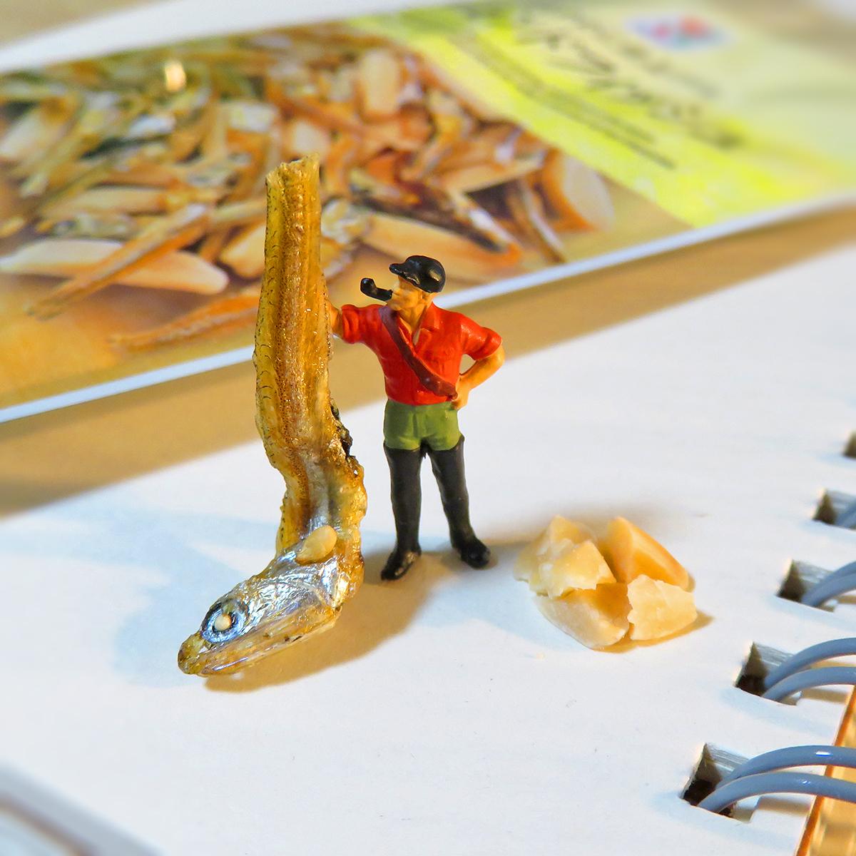 乾燥魚アーモンドフィッシュを釣り上げた釣り人