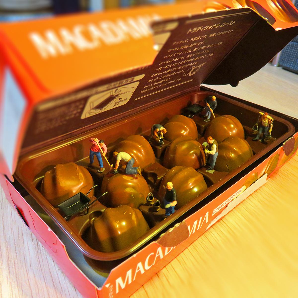 明治マカダミアチョコをこっそり開封したら小さな作業員がチョコレートを作っていた!