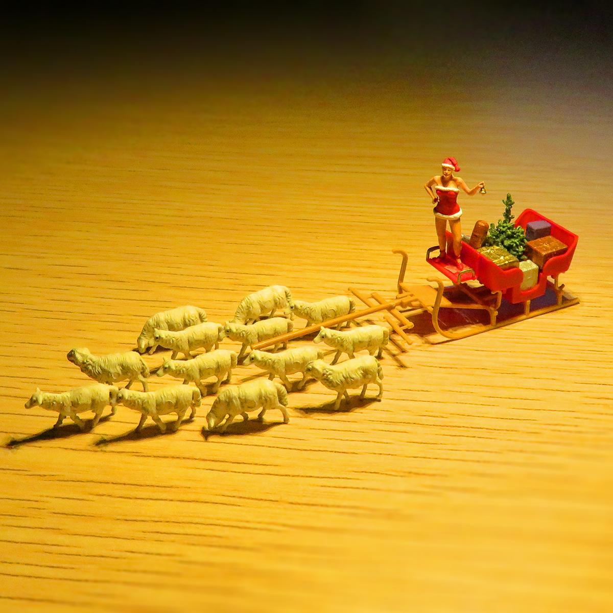 12月24日はクリスマスイブ!クリスマスプレゼントを届ける女サンタクロースとソリを引く羊